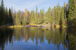 Осенний вечер на лесном озере. Карелия