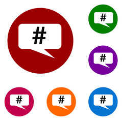 Colored Hastag Social Button Icons