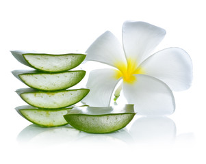 Aloe vera and frangipani flower on a white background.