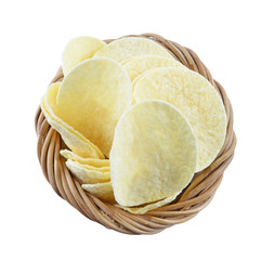 potato chips in the basket  on a white background