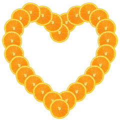 heart-shaped frame made of orange