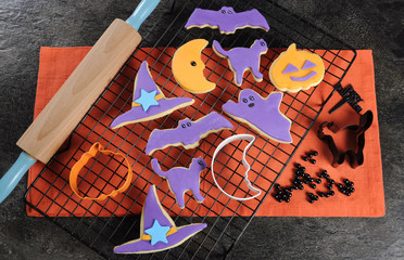 Happy Halloween orange and purple sugar cookies