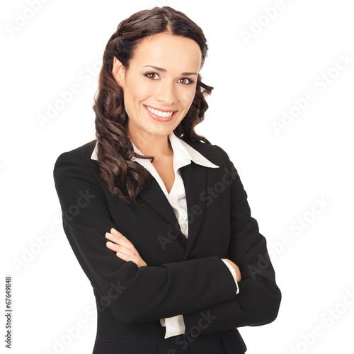 Leinwandbild Motiv Happy smiling business woman, over white