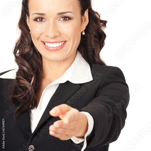 canvas print picture Business woman showing, isolated
