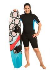 Happy surfer woman with surfboard