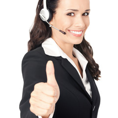 Support operator with thumbs up, on white