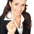 Businesswoman showing one finger, on white