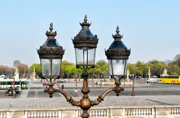 Street lamp on Tuileries Garden in Paris