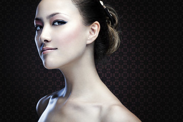 Attractive asian girl face for beauty products