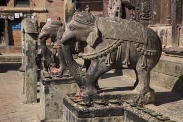 Statues of elephants in Changu Narayan - the oldest temple in th