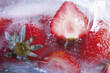 canvas print picture - Gefrorene Erdbeeren