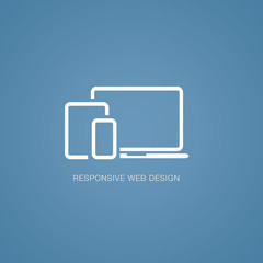 Vector illustration of responsive web design in laptop, tablet