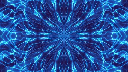abstract loop motion background, blue kaleidoscope light