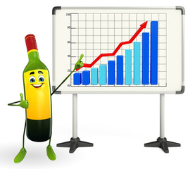 Wine Bottle Character with business graph