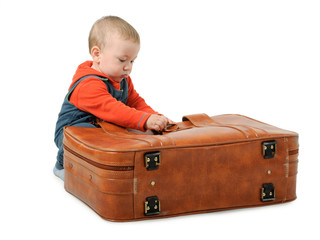 Boy collects luggage