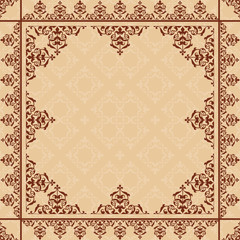 arabic ornament on light beige pattern - vector