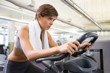 Fit focused brunette working out on the exercise bike