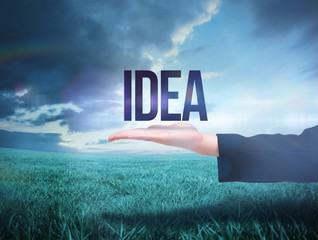 Businesswomans hand presenting the word idea