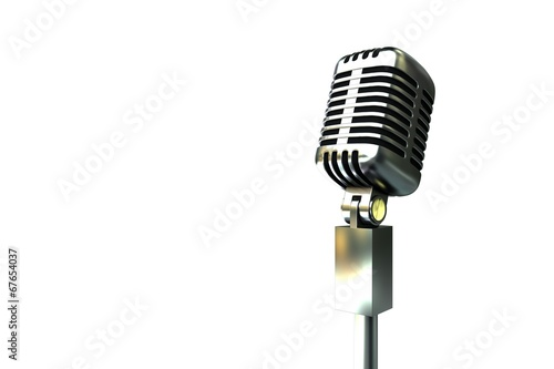 Poster Retro Digitally generated retro chrome microphone