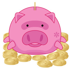 Pink Piggy Bank with Gold Dollar Coins - Illustration