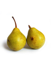 Pair of yellow ripe pears isolated on white background