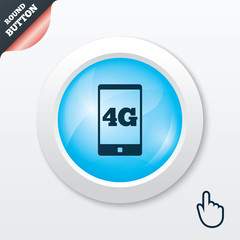 4G sign. Mobile telecommunications technology.