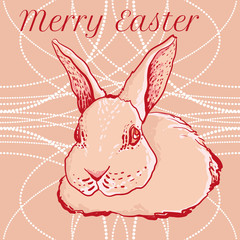 vector doodle easter rabbit for greeting cards