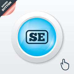 Swedish language sign icon. SE translation