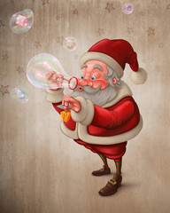Santa Claus and the bubbles soap