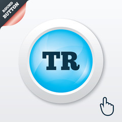 Turkish language sign icon. TR translation