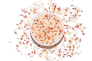Brown rice grains top view isolated