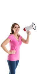 Smiling young woman holding bullhorn
