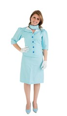 Portrait of a charming stewardess dressed in blue uniform