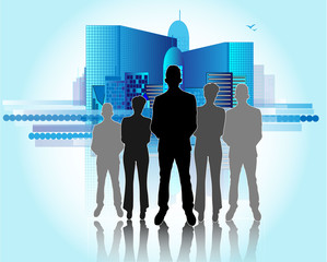 Illustration of business people with city skyline