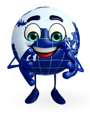 Globe Character is clapping