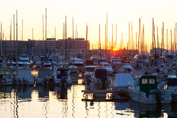 Port with  yachts  in sunrise. Alicante