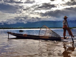 Local fisherman at Inle lake, Myanmar.