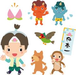 桃太郎、犬、猿、雉と鬼