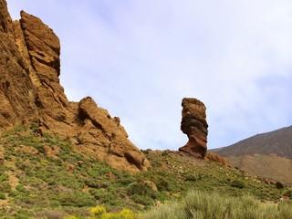 Lonely rock. Mountains landscape