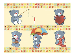 Set of small bears on wallpaper