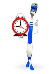 Toothbrush Character with table clock