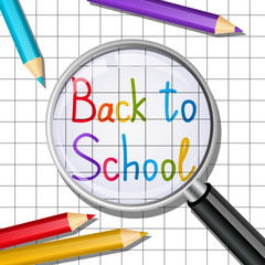 Back to school message on paper sheet background