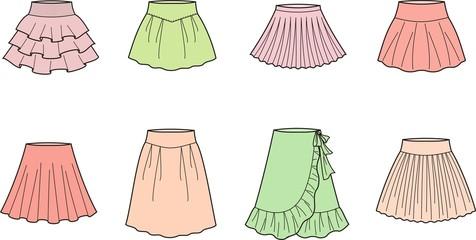 Vector illustration of women's skirts
