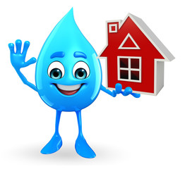 Water Drop Character with home