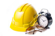 Safety hat isolated with alram clock