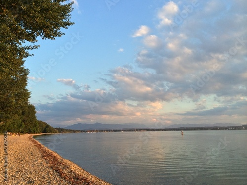 canvas print picture Abendrot am Starnberger See
