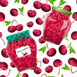 seamless texture with preserve cherry