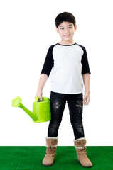 Little Asian smile child with watering pot