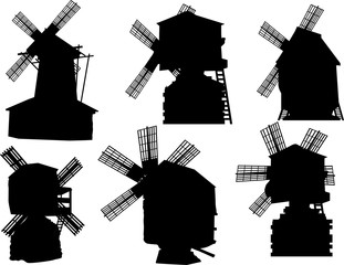 set of six obsolete windmills silhouettes isolated on white