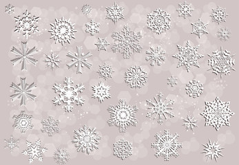 white snowflakes collection on light background